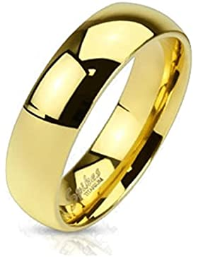 Paula & Fritz® klassischer Titan Ring gold poliert Classic 6 verfügbare Ringgrößen 47 (15) – 69 (22) R-TI-4383-6