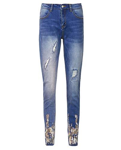 GULLIVER Jeans Mädchen Blau Jeanshosen Zerrissen mit Pailletten Stretch Eng 8-13 Jahre 134-164 cm