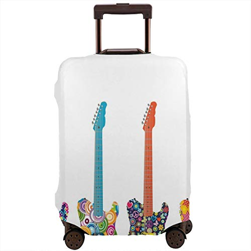 Travel Luggage Cover,Electric Guitars with Colorful Flowers Stars Circles Abstract Suitcase Protector -