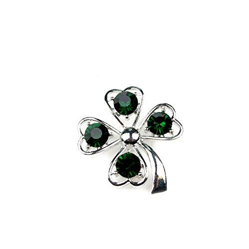 Silberfarbene Glücksbringer-Brosche Kleeblatt mit grünen Glassteinen 070-00002