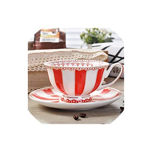 Romance-and-beauty, set di tazze da tè in porcellana, con piattino in stile europeo, idea regalo per san valentino, red, rosso