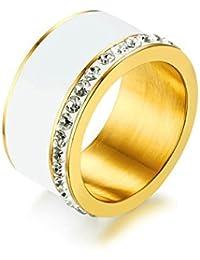 Bishilin Gioielli Anello da Donna Titanio con Smalto con Zirconi Larghezza 11.5MM Anello di Fidanzamento Fedi Nuziali Oro/Oro Rosa/Argento
