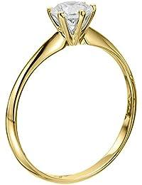 14K Gold / Yellow Round Cut Diamond Simulated Swarovski Pure Brilliance Zirconia Engagement Ring (0.54 cttw)