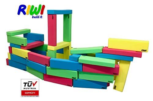 RIWI 20er Bausteinset | XXL Schaumstoffbausteine | große Soft-Bauklötze | TÜV Austria Zertifiziert | Kindergarten Qualität | Ergotherapie