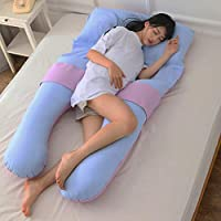 AFQHJ (150cm × 85cm × 20cm) pregnant pillow U-shaped multi-functional waist side sleeping pillow, removable washable pad can be cleaned cotton cover, hollow fiber filler (Color : D)