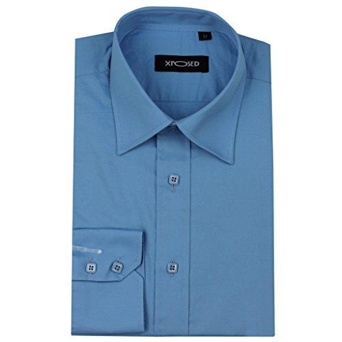 Xposed Herren Freizeit-Hemd, Einfarbig * Einheitsgröße Hellblau