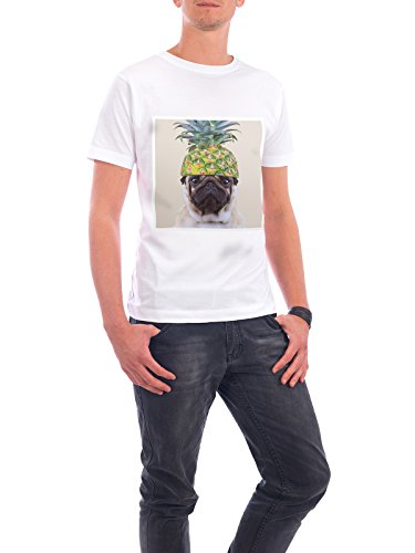 "Design T-Shirt Männer Continental Cotton ""PINEAPPLE PUG"" - stylisches Shirt Tiere von Meet The Pugs Weiß"