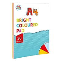 Kids Create A4 30 Sheet Bright Coloured Pad Childrens Colouring Paper Scrapbook Drawing Decorating Book