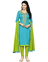 Regalia Ethnic Women's Cotton Dress Material (MFRE152_Free Size_Blue)