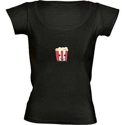 Camiseta Cuello Redondo para Mujer - Kawaii Palomitas De Maíz by ilovecotton