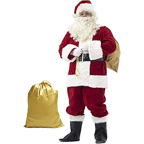 WEREIOV Weihnachtsmann Kostüm, 10Pcs Déguisement Père Noël Anzug Set Adulte Cosplay Halloween Christmas Party Kostüm, Kinder, Unisex,XL