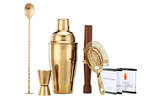 NETTA Luxus Cocktail Schüttelbecher Set in einer Geschenkbox mit Rezept Guide, 550 ml Shaker, Twisted Bar Löffel, Hawthorne Sieb, 25 ml/LSF15 Measuring Jigger und Holzstößel kupfer