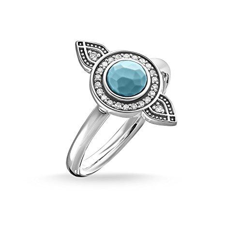 Thomas Sabo Damen-Ring Glam & Soul 925 Sterling Silber geschwärzt Zirkonia weiß imitierter Türkis Gr. 52 (16.6) TR2090-646-17-52