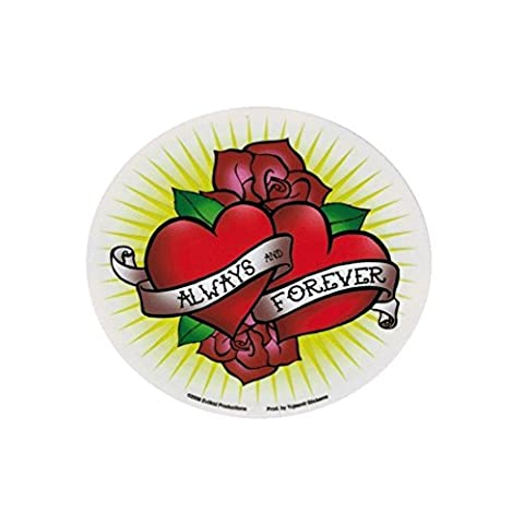 hotrodspirit - sticker always and forever roses coeur tattoo autocollant ja143