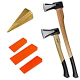 TronicXL Profi Spaltaxt mit Holz Stiel Axt Spalthammer + Beil Holzspalthammer Forstaxt Holzaxt Set mit 3er Fällkeil Fällkeile Spaltkeil Spaltkeile Forst Forstwirtschaft Holz fällen Brennholz