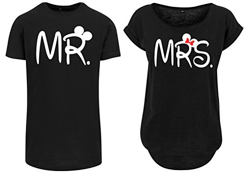 Urban Kingz Partner Herren + Damen Oversize Long T-Shirt Set MR. & MRS. - Mister & Misses, Herren L, Damen M, Schwarz