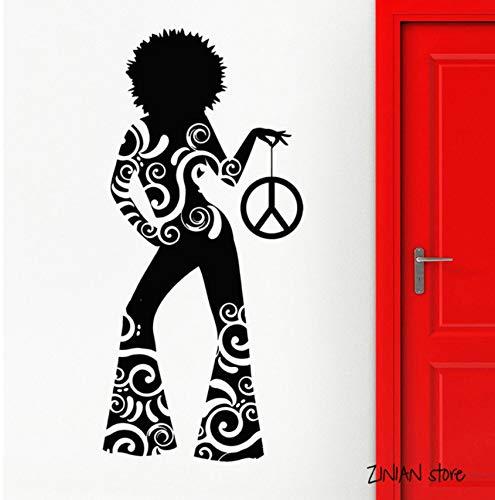 Mädchen Wand Applique Hippie Tanz Nachtclub Wandaufkleber Teen Schlafzimmer Vinyl Tapete Kunst Wandhauptdekoration 90x42cm