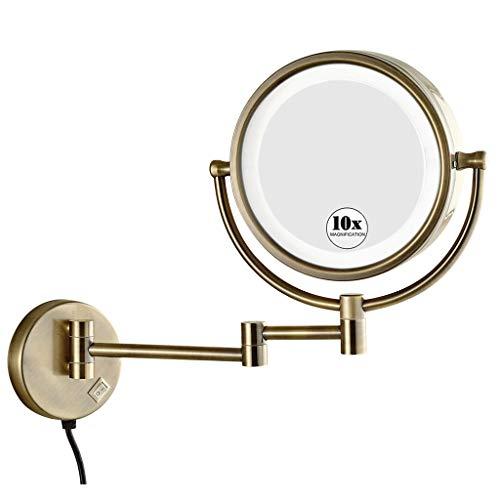 KWEE Miroir de Maquillage Lumineux Mural,LED Double Face 360°Rotation Rond Miroir, pour Salle de Bain Rasage et Soin de Peau Spa Hôtel, avec Prise,Couleur Antique,10X