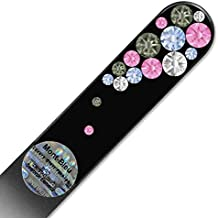Crystal Nail File with Swarovski Elements, Hand Made, Czech Tempered Glass, Lifetime Guaranty, in Suede Sleeve (Light Sapphire)