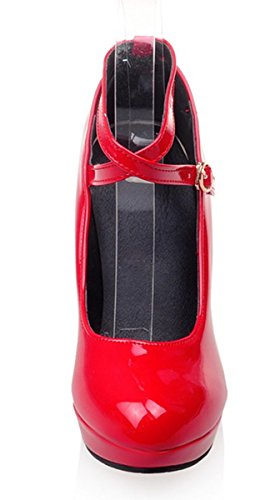 YE Damen 10cm Absatz Stiletto High Heels Lack Leder Plateau Ankle Strap Pumps mit Schnallen Elegant Party Schuhe Rote