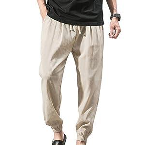 Herren Schlabberhose Strandhosen Loose Leinenhosen – Elastische Taille Länge Hosen für Herren Haremhose Einfarbig Lässige Freizeithose mit Taschen(4 Farben M-5XL)