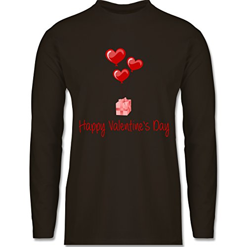 Shirtracer Valentinstag - Happy Valentine's Day Geschenk Herz Luftballon - Herren Langarmshirt Braun