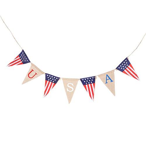 LUOEM USA Sackleinen Banner Amerika Flagge Banner vierten Juli Fahnen Bunting Banner Wimpel Banner Garland Party Supplies für unabhängigen Tag