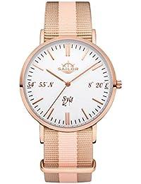 Sailor Reloj Limited Edition Sylt, Model: Sylt en rosègold/blanco con nylon pulsera | Reloj de cuarzo con indicador analógico | Exclusivo del Mar del Norte Accessories4men 2017, color pulsera: Harbour