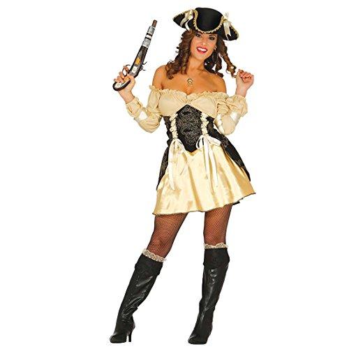 Travestimento piratessa dorato Costume sexy donna pirata M 42/44 Abito di carnevale bandita dei mari Outfit marinaio ragazza Vestito bucaniera donne Completo festa in maschera da filibustiera