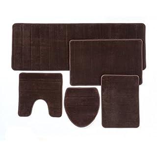 Tapis de salle de bain, lot de 5 pièces, mousse à mémoire de forme, extra douce, dos antidérapant (Marron)