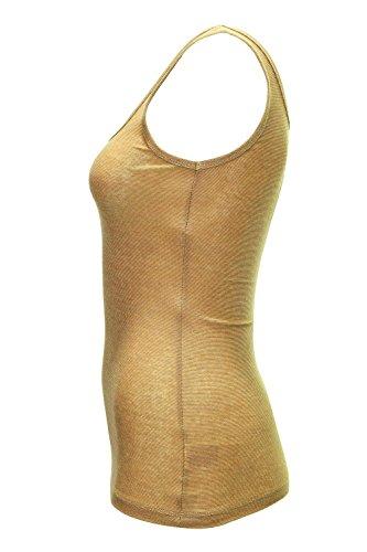 ONLY Damen Top Onllive Love Glimmer Tank Noos Gold Colour