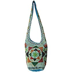 Diseñador de las lentejuelas Zari hilo bordado algodón Jhola Bolsa de hombro