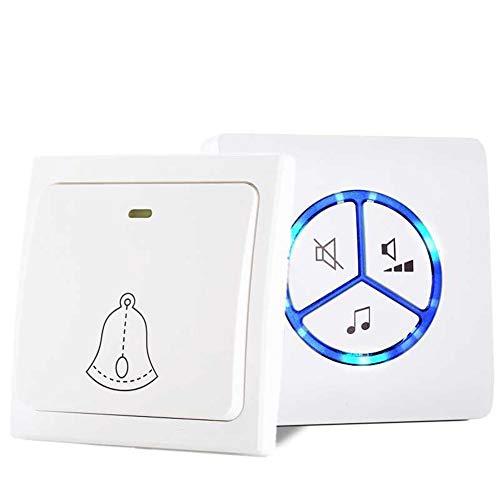 FMTMY Drahtlose Türklingel, Wasserdichte Tür Keine Batterien Am Besten Für Plug-In-Tür-Eingangs Glocke Erforderlich,White