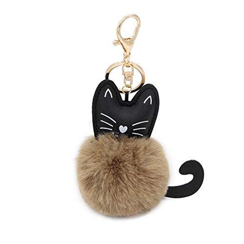 ige Katze Keychain Faux Pelz Ball Tier Schlüsselanhänger für Frauen Tasche Auto Anhänger Modeschmuck ()