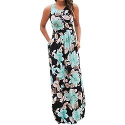Vestidos Mujer Verano 2018,Mujer sin mangas de impresión floral vestido maxi con bolsillos LMMVP (M, Azul)