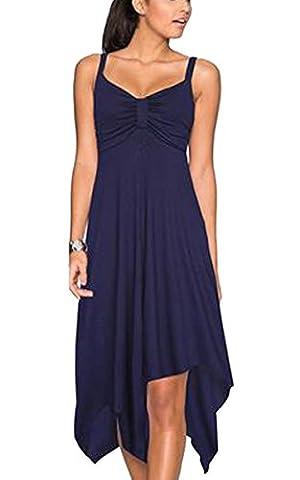 Ecowish Damen V ausschnitt Sommer kleider Knielang Partykleider Armellos Strandkleid ,L (EU 38) Navy Blau