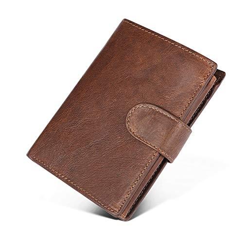 UBAYMAX Cartera para Hombre,Antirrobo& Bloque RFID,Billetera Vintage,Cartera Pequeña Plegable,Bloqueo para Varias,Monedero Hombre con 12 Bolsillos,Mini Billetera para Crédito,Piel