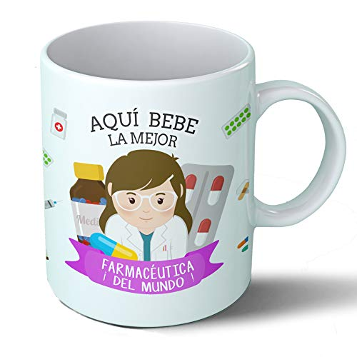 Planetacase Taza Desayuno Aquí Bebe la Mejor farmacéutica del Mundo Regalo Original Farmacia Ceramica 330 mL