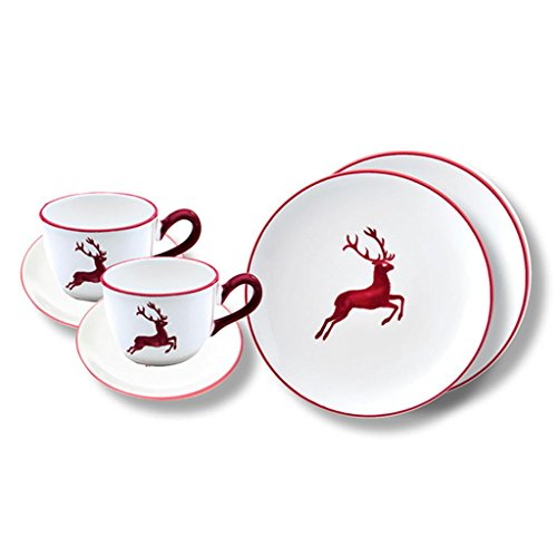 Gmundner Keramik Manufaktur 0320STSC06SET Breakfast for Two Classic, Bordeauxrot