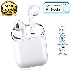 Écouteurs sans Fil Bluetooth 5.0 avec réduction de Bruit, écouteurs Sportifs avec IPX5 écouteurs stéréo étanches dans l'oreille Intégré HD Mic Casques pour Apple Airpods Android iphone Blanc