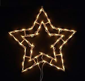Fensterbild beleuchtet 41cm mit 50 led motiv stern mit for Stern beleuchtet weihnachten