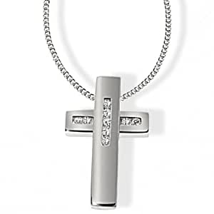 Goldmaid Unisex-Collier 925 Sterlingsilber 9 Zirkonia Kreuz 45cm Kr C4507S