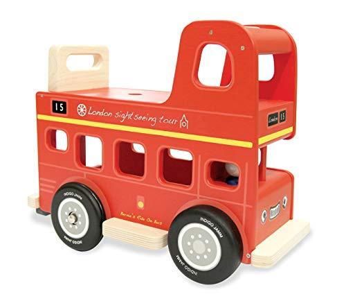 Indigo Jamm AIJ079 Bernie's Bus, Wooden Toy Ride On, Ages 12 Month Plus, Red