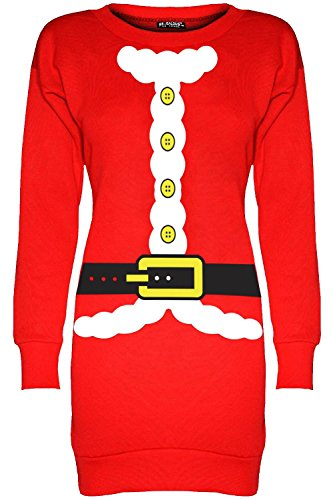 Oops Outlet Damen Frauen Weihnachten Fleece Santa Kostüm Tunika Sweatshirt Pulli - Red Beard Kostüm