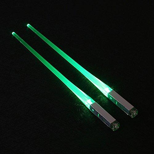 Jiayuane (grün) 1 Paar Sabres Chop Lichtschwert Led Leuchten Essstäbchen, Chop LED Leuchten Essstäbchen Home Küche Esszimmer Dinner Party Lustig