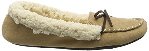Dearfoams Microsuede Moc With Quilted Tab And Memory Foam, Chaussons femme Beige (Desert 00288)