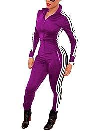 Tomwell Automne Combinaison Femme Pantalon Manche Longue Casual Jumpsuit Survêtements Pantalons Joggings Sport Romper