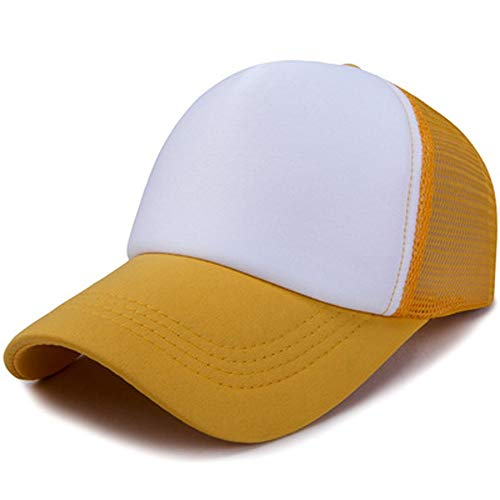 HXXBY Hut Neue Normallackleerzeichenkappenhutarbeitskappenwerbekappenbaseballmütze DIY Musternetzkappe (Color : Yellow)