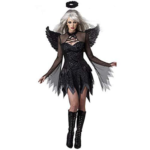 Dark Women's Lady Kostüm - QWER Black Lady Halloween Sexy Dark Angel Kostüm-Spiel-Uniform Vampire Bride Teufel Pack Partei Cosplay,Black,XL