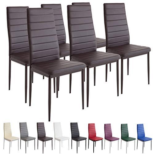 Albatros Milano - Set de 6 sillas de Comedor, Estructura metálica y Piel sintética, Estilo Italiano, marrón